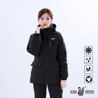 【遊遍天下】女款GLOBETEX中長版極暖防風防水羽絨外套GJ22010黑色