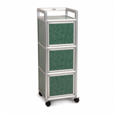 Cabini小飛象-花崗綠1.2尺鋁合金三門收納櫃40.1x41.1x115.3cm