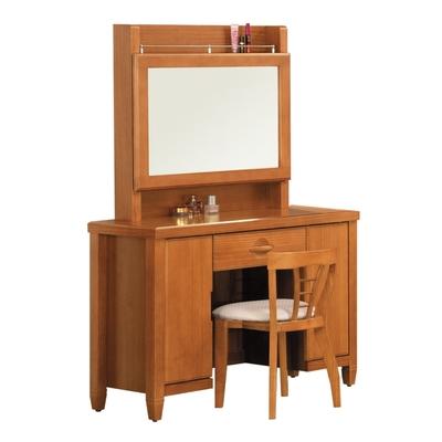 【綠活居】灰爾  現代3.5尺實木側推式鏡台/化妝台組合(含化妝椅)-106x44x157cm免組