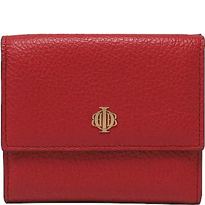 OBBI LAI 紅色女款荔枝紋牛皮短夾皮夾錢包