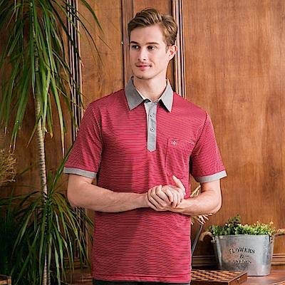 PAUL MAURIAT波爾.瑪亞吸溼排汗短袖POLO衫-紅底白細條 @ Y!購物