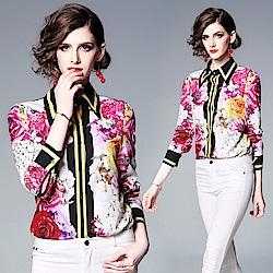 好氣色亮麗花朵時尚襯衫S-2XL-M2M