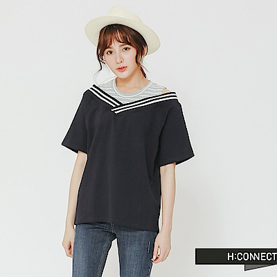 H:CONNECT 韓國品牌 女裝 -甜美感假兩件式上衣-藍