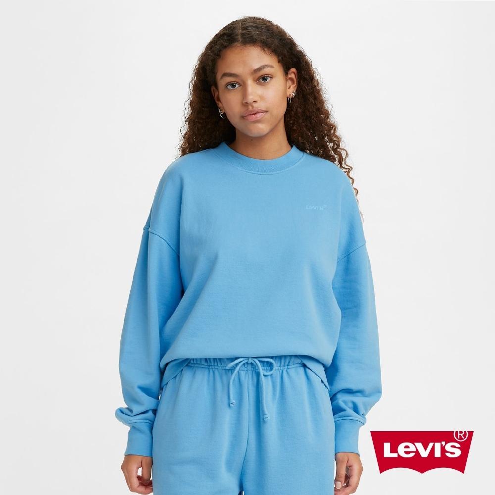 Levis 女款 重磅大學T 韓系Oversize家居服版型 精工刺繡Logo 400GSM厚棉 天空藍