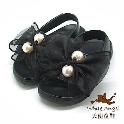 天使童鞋 典雅大珍珠蝴蝶結涼拖鞋(中童)D947-黑