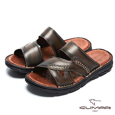 CUMAR 舒適真皮 經典舒適皮拖鞋-咖啡