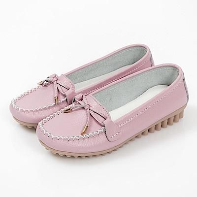 JMS-輕甜超軟Q莫卡辛蝴蝶結娃娃鞋-粉色