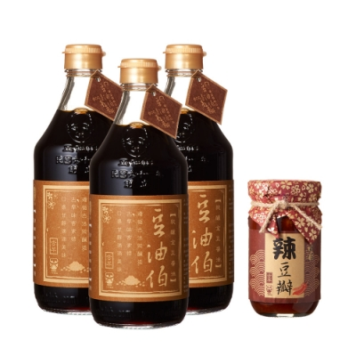 豆油伯 金誠意好運組 (金豆醬油500ml*<b>3</b>瓶+小辣豆瓣醬220g*<b>1</b>