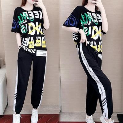 【韓國K.W.】(預購)波濤花香印花字母活潑休閒套裝褲-2色