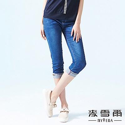 【麥雪爾】紅藍線條彈力腰身牛仔褲