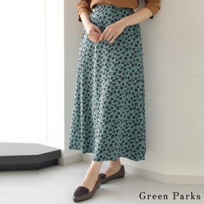 Green Parks 花朵圖案優雅長版喇叭裙