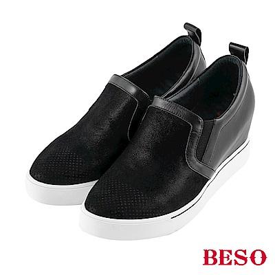 BESO 光澤耀眼 拼接內增高休閒鞋~黑