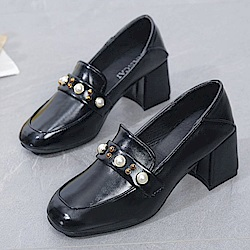 KEITH-WILL時尚鞋館 韓國氣質輕盈舒適粗跟鞋-黑色