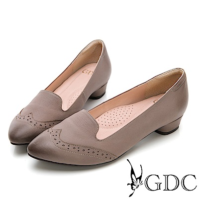 GDC-英倫文青真皮擦色尖頭雕花跟鞋-灰色