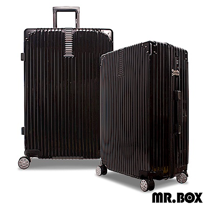 MR.BOX 威爾 28吋PC鏡面拉鍊行李箱 旅行箱-黑色