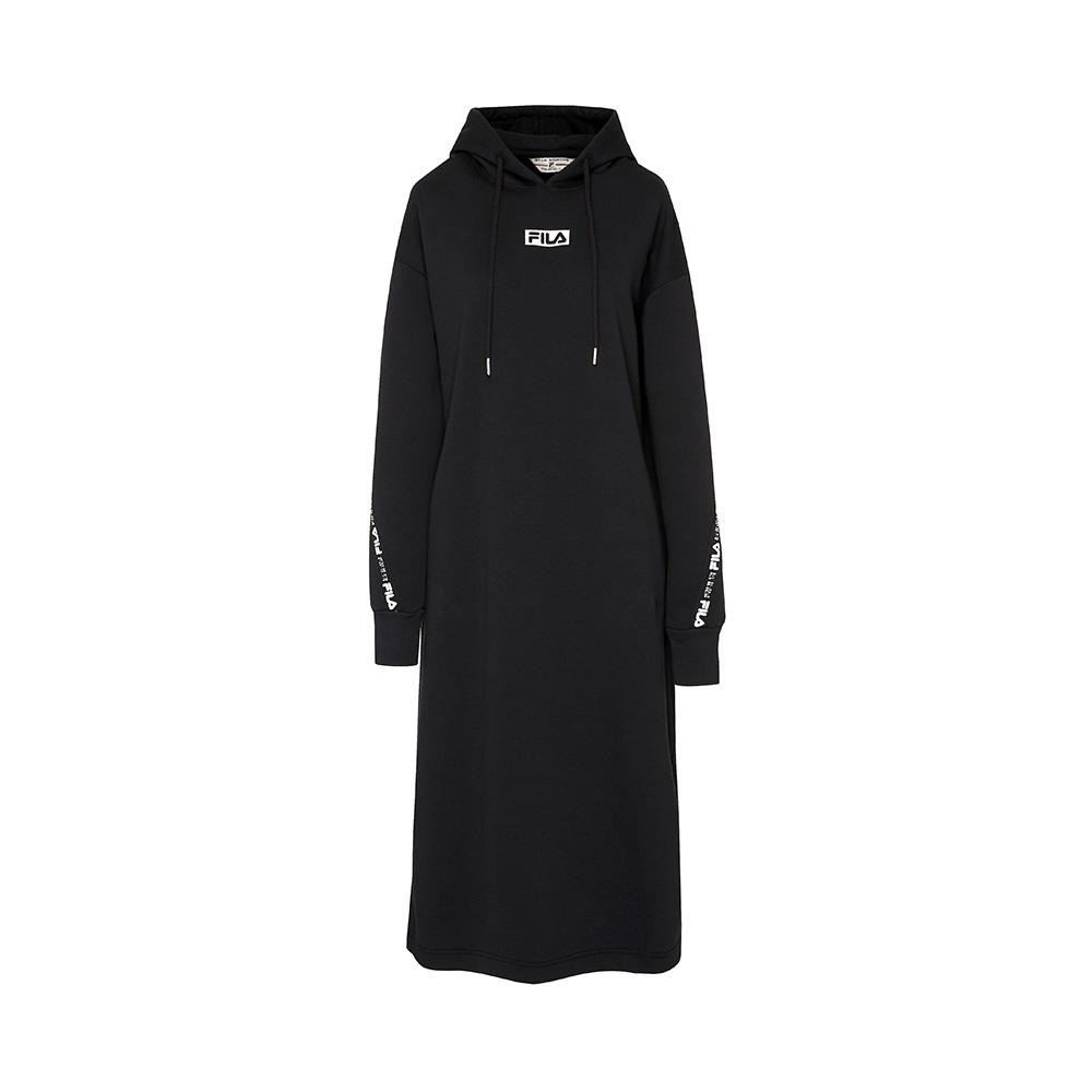 FILA #扳勢回潮 女長袖連帽洋裝-黑色 5DRV-5440-BK