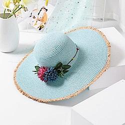 米蘭精品 草帽防曬遮陽帽-毛邊大帽簷優雅花朵女帽子母親節禮物73rp152