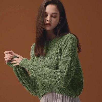 AIR SPACE LADY 經典短版麻花針織毛衣(綠)