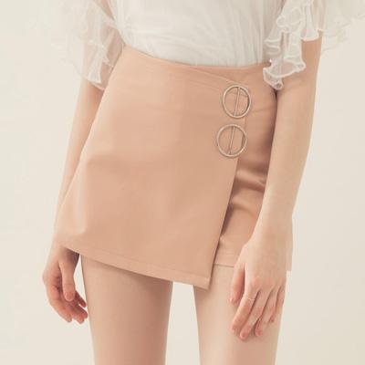 AIR SPACE 造型金屬釦環褲裙(杏)