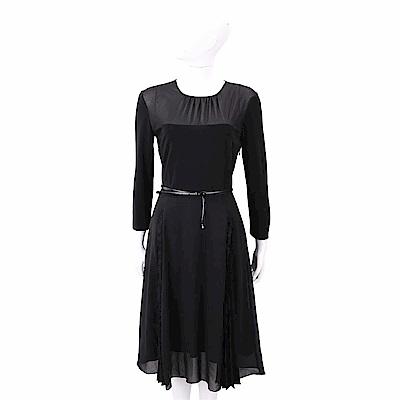 Max Mara 蕾絲細節黑色附皮帶雪紡紗質洋裝