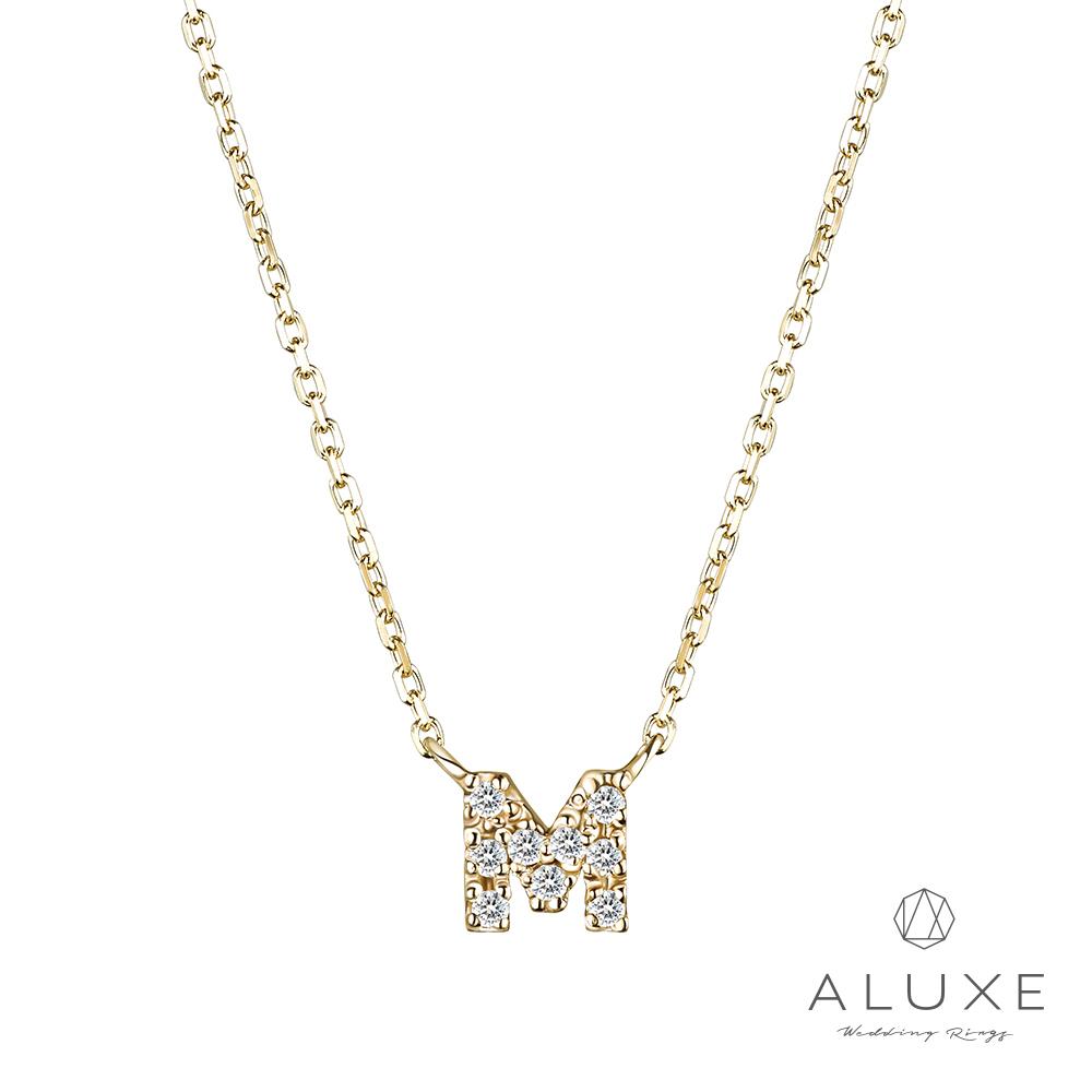 ALUXE亞立詩Alphabet系列10K鑽石項鍊-M