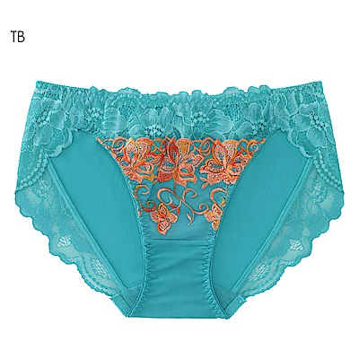 aimerfeel 花卉刺繡交叉蕾絲內褲-綠松藍-604321-TB