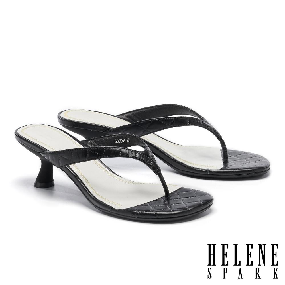 拖鞋 HELENE SPARK 極簡菱格壓紋全真皮人字高跟拖鞋-黑