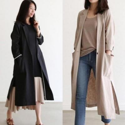 MOCO韓版新款亞麻側開叉一粒釦棉麻小西服雙口袋長版外套