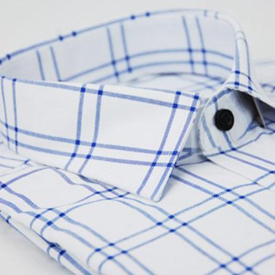 【金安德森】白底藍線格窄版長袖襯衫