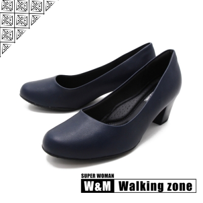 WALKING ZONE SUPER WOMAN系列 圓頭素面中跟淑女鞋上班鞋 女鞋- 藍(另有黑.卡其)