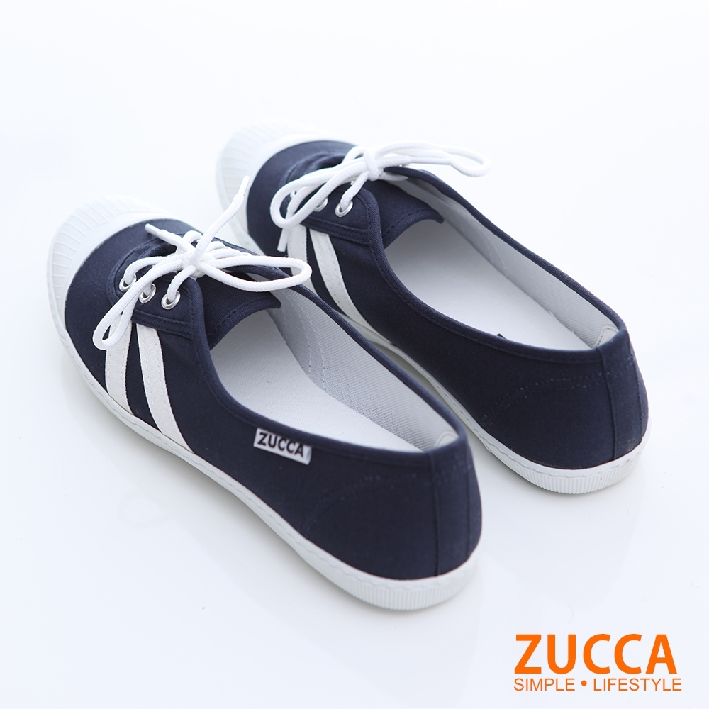 ZUCCA-日系綁繩拼橫紋平底鞋-藍-z6616be