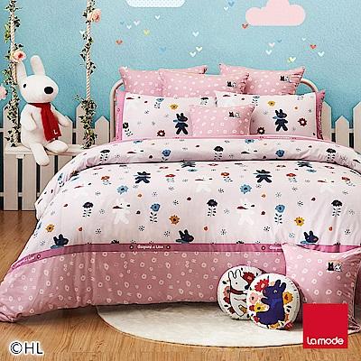 La mode寢飾  杜樂麗花園環保印染100%精梳棉被套床包組(雙人)