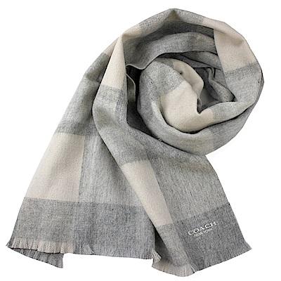 COACH 經典LOGO格紋拼接色羊毛羊絨寬版圍巾-淺灰COACH