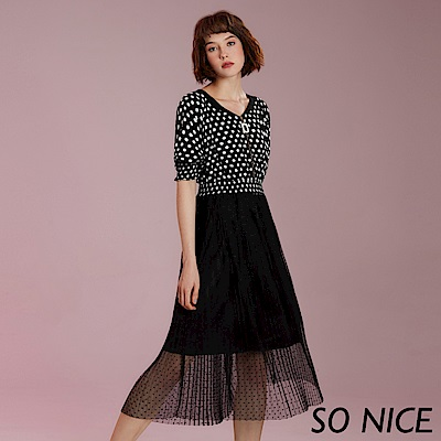 SO NICE俏麗圓點網紗假兩件洋裝