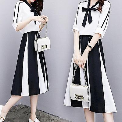 中大尺碼高雅冷淡風胸蝴蝶結黑白條紋配色兩件式套裝XL~4L-Ballet Dolly