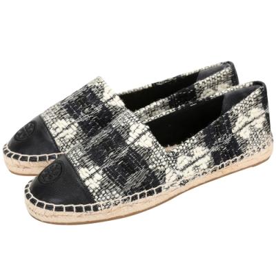 TORY BURCH COLOR-BLOCK 羊毛花呢拼納帕皮草編鞋(黑白色)