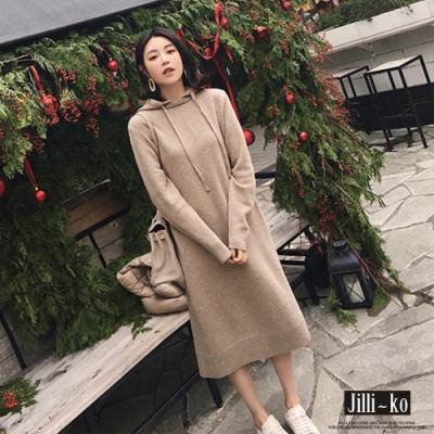 JILLI-KO 簡約抽繩連帽過膝連衣長裙- 杏/黑/卡