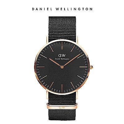 DW 手錶 官方旗艦店 40mm玫瑰金框 Classic Black 寂靜黑織紋錶