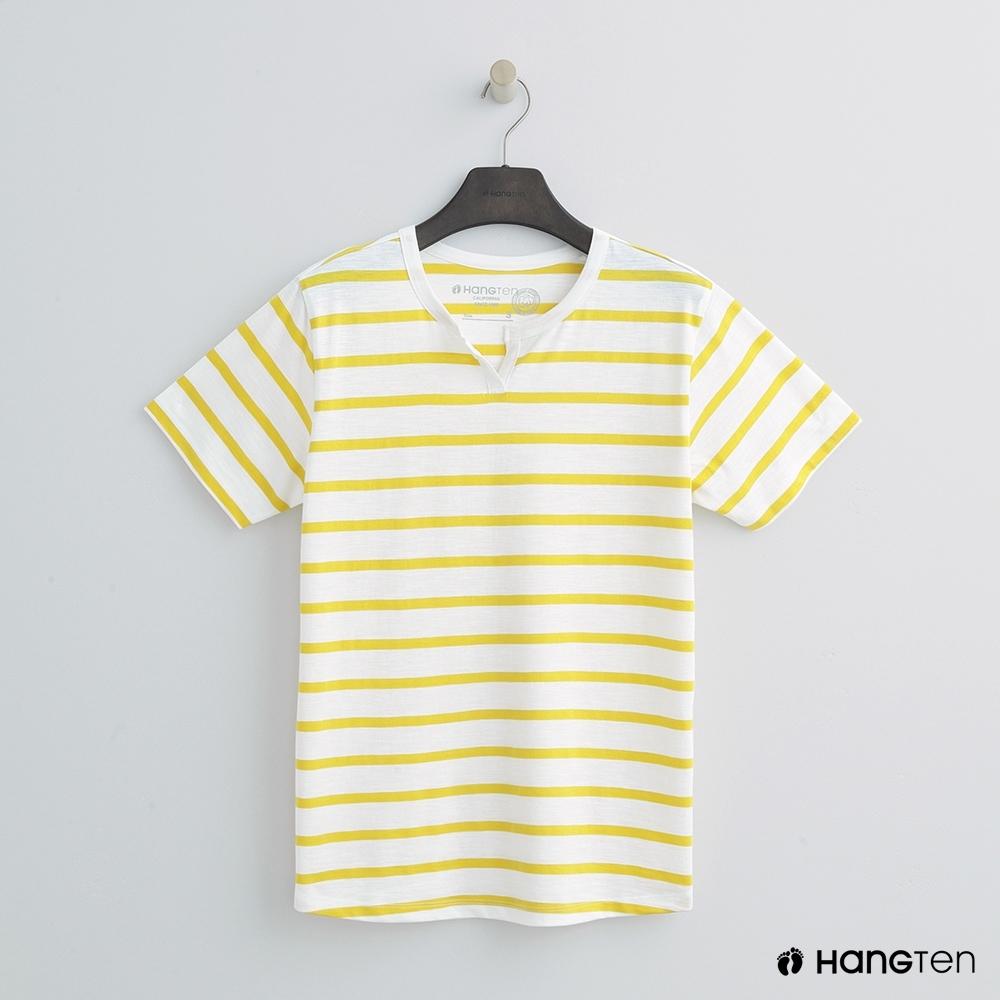Hang Ten - 女裝 - 有機棉-簡約小開襟T桖 - 黃