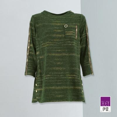 ILEY伊蕾 花紗織蔥字母織帶七分袖針織上衣(綠)