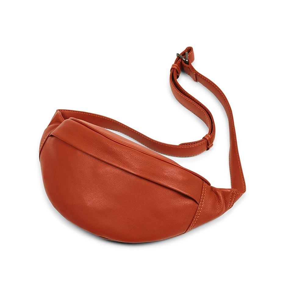 MARKBERG Tova 丹麥手工牛皮個性托瓦腰包 胸包 斜背包(溫煦橘)