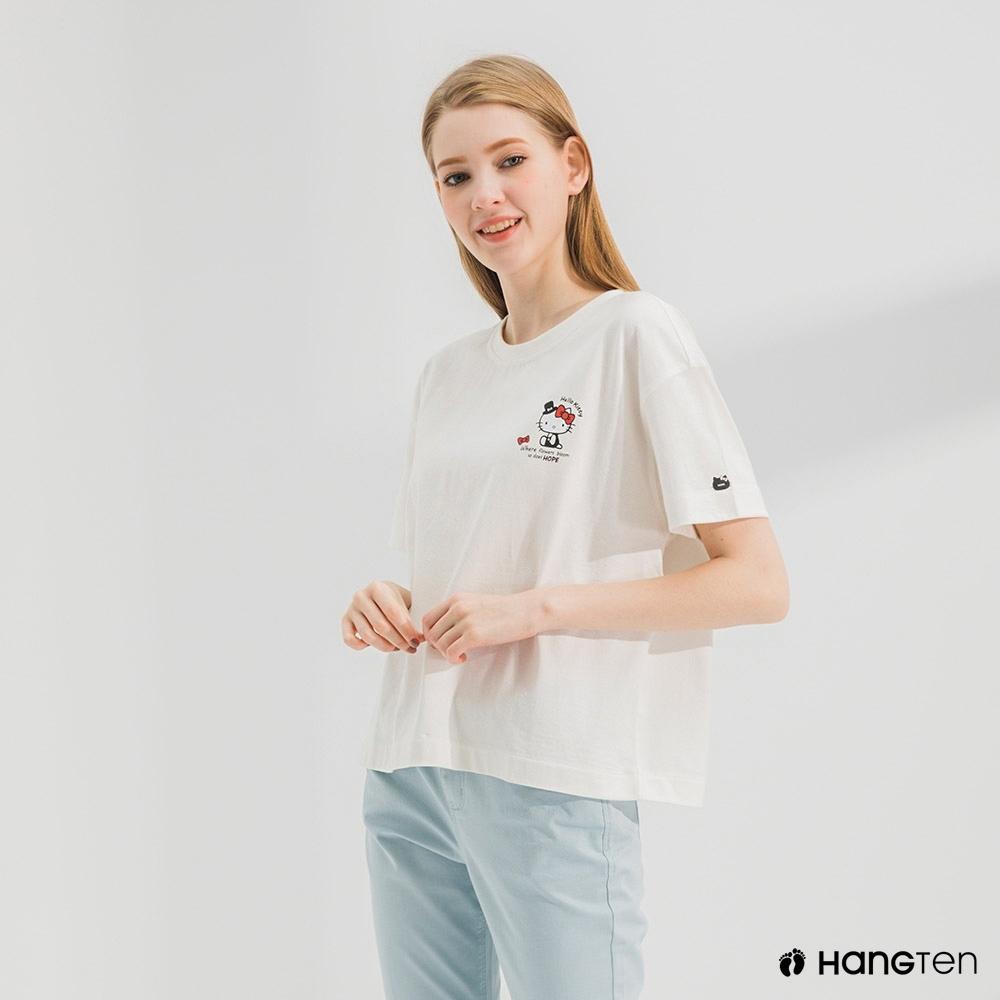 Hang Ten-女裝-Sanrio厚磅HOPE短袖T恤-白色