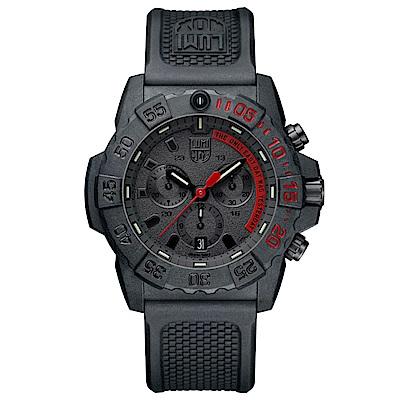 LUMINOX 雷明時 3580海豹三眼計時腕錶-消光黑x紅時標/45mm