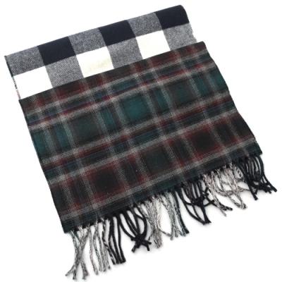 BURBERRY 經典格紋針織流蘇長型羊毛圍巾(藍綠黑)