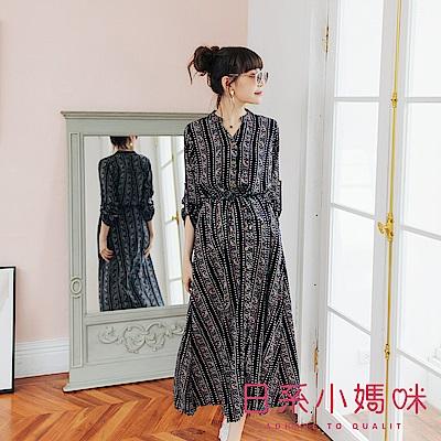 日系小媽咪孕婦裝-孕婦裝 民族風圖騰排釦腰抽繩洋裝