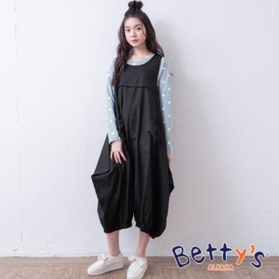 betty's貝蒂思 時尚風格剪裁無袖長洋裝(黑色)
