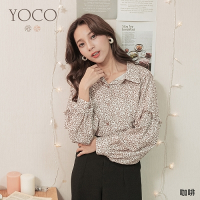 東京著衣-YOCO 蜜漾甜感小碎花澎澎寬袖排釦上衣