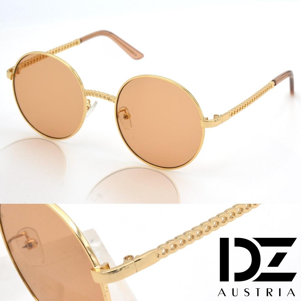 【2件59折】DZ 鎖鏈韓潮 抗UV防曬太陽眼鏡墨鏡(金框澄茶片)