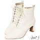 Ann'S頂級小羊皮窄瘦修身造型綁帶方頭扁跟短靴-米白 product thumbnail 1