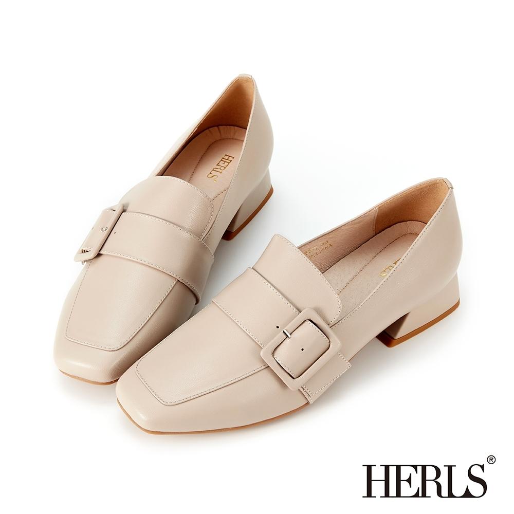 HERLS樂福鞋 全真皮復古方釦方頭低跟樂福鞋 裸粉色